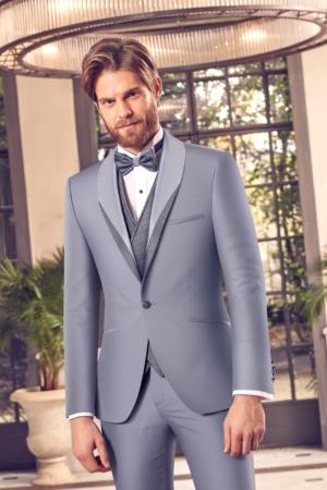 Nouveau Costume de Marié bleu LU-1651 5 pièces, noeud pap ou cravate à Toulon IT-25